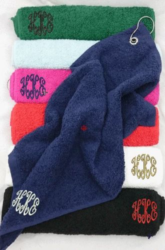 Golf Towel with Monogram in corner.